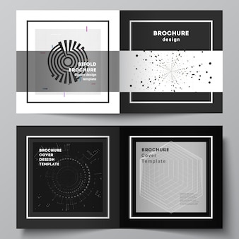 Layout de vetor de dois modelos de capas para brochura bifold design quadrado, folheto, design da capa, design de livro. fundo de tecnologia de cor preta. visualização digital de ciência, medicina, conceito de tecnologia.
