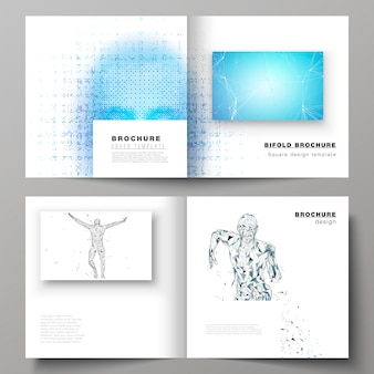 Layout de vetor de dois modelos de capas para brochura quadrada bifold, conceito de inteligência artificial