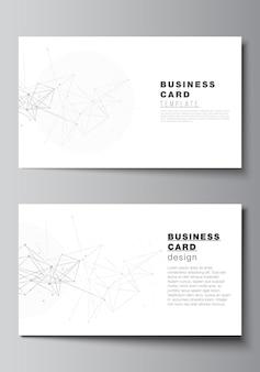 Layout de vetor de dois modelos de design de cartões de visita criativos modelo horizontal desenho vetorial fundo de tecnologia cinza com linhas de conexão e conceito de rede de pontos