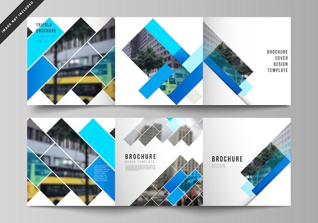 Layout de vetor de formato quadrado abrange modelos de brochura com três dobras, padrão geométrico abstrato