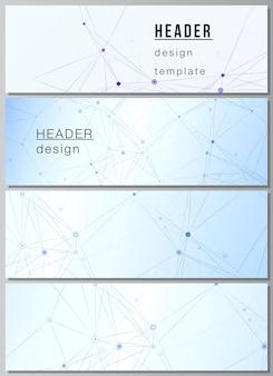 Layout de vetor de modelos de banner de cabeçalhos para design de rodapé de site design de folheto horizontal plano de fundo do site planos de fundo médico azul com linhas de conexão e plexo de pontos
