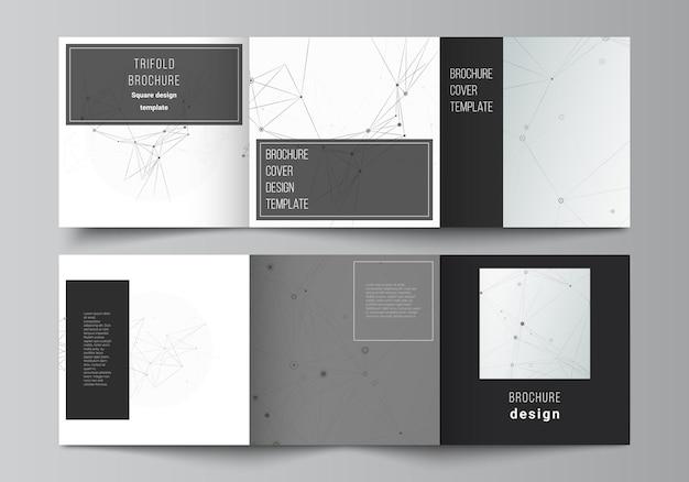 Layout de vetor de modelos de capas quadradas para design de capa de folheto com três dobras, design de livro, capa de brochura, fundo de tecnologia cinza com linhas de conexão e conceito de rede de pontos