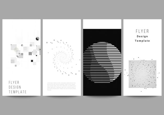 Layout de vetor de modelos de design de banner de panfleto para design de publicidade de site design de panfleto vertical tecnologia abstrata cor preta fundo de ciência visualização de dados digitais conceito de alta tecnologia