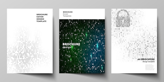 Layout de vetor de modelos de design de modelos de capa de formato a4 para brochura