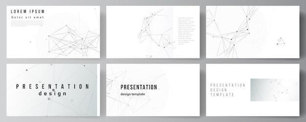Layout de vetor de slides de apresentação modelo de modelos de negócios para apresentação brochura brochura relatório de capa tecnologia cinza fundo com linhas de conexão e conceito de rede de pontos