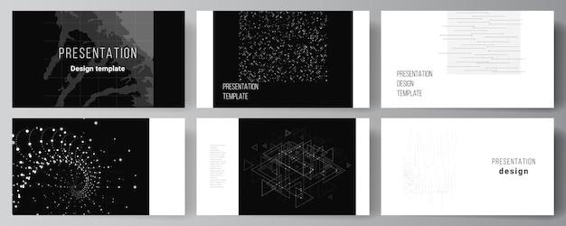 Layout de vetor dos slides da apresentação modelo de modelos de negócios para apresentação brochura brochura relatório de capa tecnologia abstrata cor preta fundo de ciência conceito de alta tecnologia