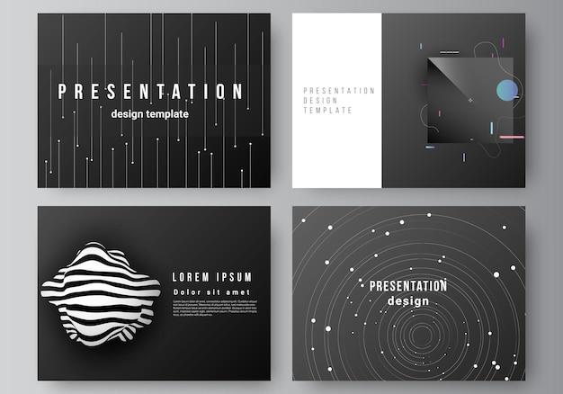 Layout de vetor dos slides de apresentação design modelos de negócios modelo multiuso para apresentação brochura brochura capa tecnologia ciência futuro fundo espaço design astronomia conceito