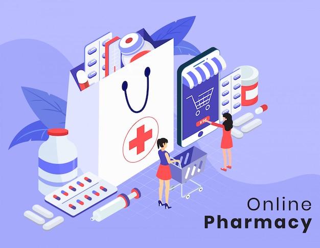 Layout de vetor isométrico de farmácia on-line