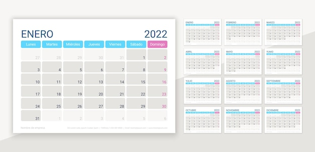 Layout do calendário de 2022 em espanhol. modelo de calendário de mesa. ilustração vetorial.
