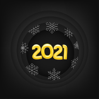 Layout do cartão de ano novo com dígitos e flocos de neve