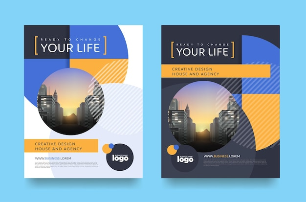 Layout do design da capa do folheto do panfleto do pôster
