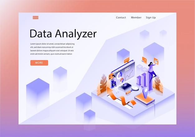 Layout do design do site com o tema do analisador de dados