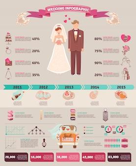 Layout do gráfico de estatísticas de infográfico de casamento
