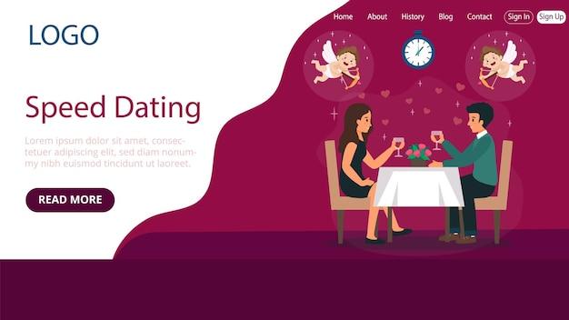 Layout do modelo da página de destino de speed dating