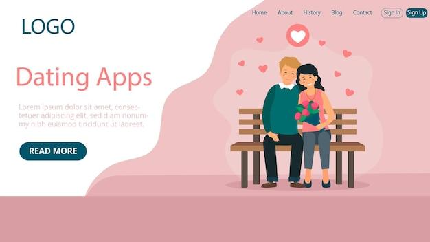 Layout do modelo da página de destino do aplicativo de namoro