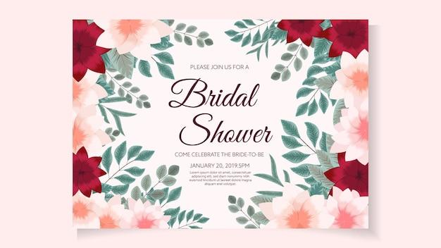 Layout do modelo do cartão do convite do chá de panela em design floral abstrato romântico flores elegantes