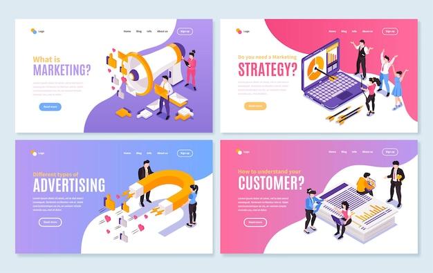 Layout do site com tema de estratégia de marketing