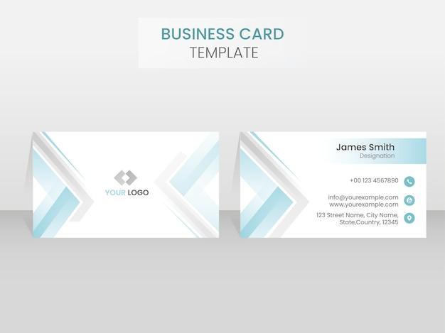 Layout dos lados duplos do modelo de cartão de visita em azul e branco