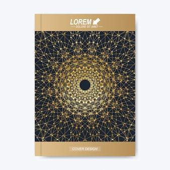 Layout dourado em tamanho a4. layout de livro de design de negócios, ciência e tecnologia. apresentação com mandala dourada.