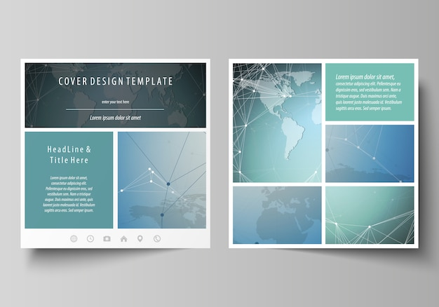 Layout editável minimalista de duas capas de formato quadrado