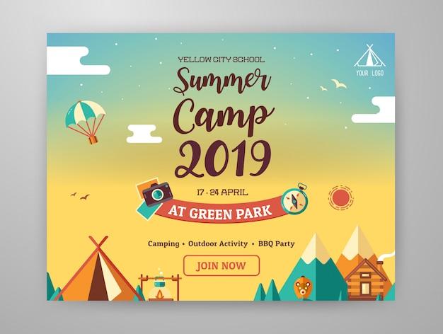 Layout gráfico de acampamento de verão