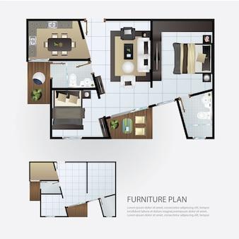 Layout interior plano com mobília