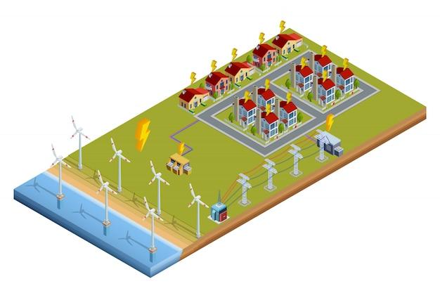 Layout isométrico da estação de geração de energia elétrica