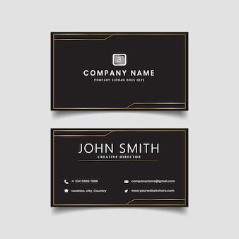 Layout moderno de cartão de visita dourado preto.