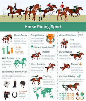 Layout plana de infográficos de cavalo subindo com transporte de rodeio, dirigindo a publicidade de abóbada de adestramento