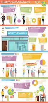 Layout plano de infográficos de caridade