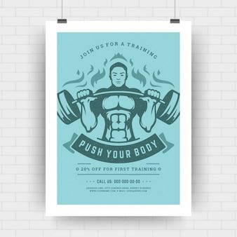 Layout tipográfico moderno de panfleto de centro de fitness, modelo de design de cartaz de evento tamanho a4 com homem fisiculturista