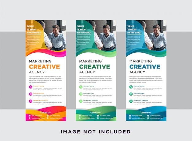 Layout vertical do banner da página da web com espaço para foto. conjunto de agência de marketing criativo de banner com forma ondulada de cor gradiente e quadro de papercut.
