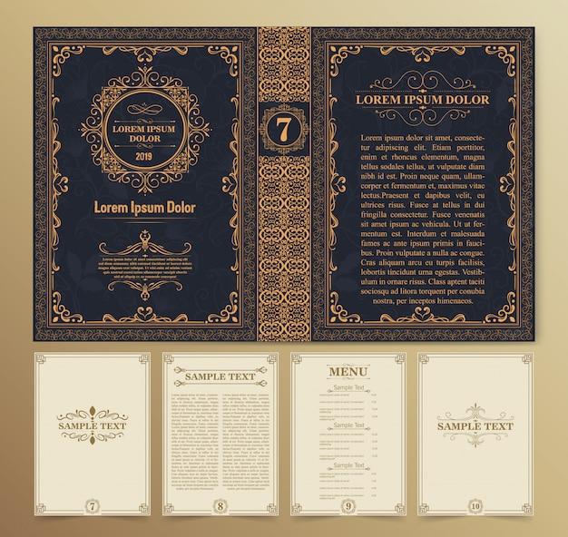 Layouts de livros vintage e design