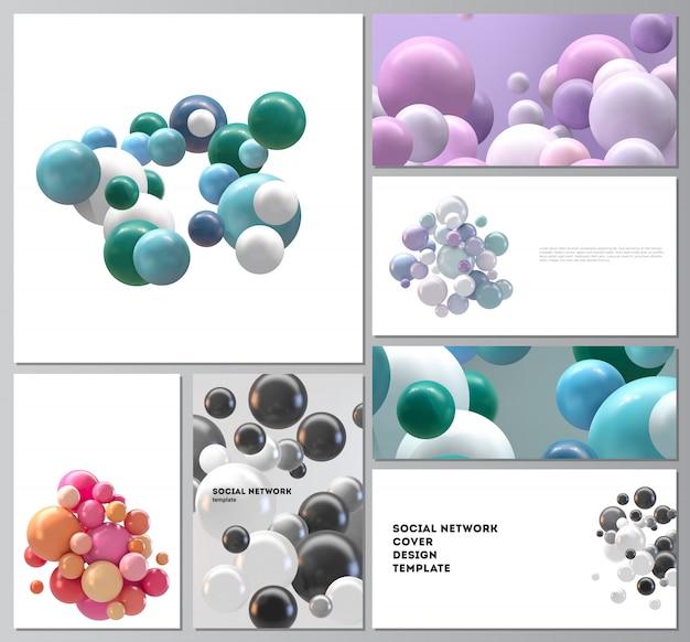 Layouts de maquetes de redes sociais modernas para design de capa, design de site, planos de fundo de site ou publicidade. abstrato futurista com esferas 3d coloridas, bolhas brilhantes, bolas.