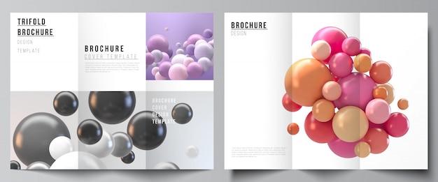 Layouts de modelos de design de capas para brochura com três dobras, layout de folheto, design de livro, capa de brochura, publicidade. fundo futurista abstrato com esferas 3d coloridas, bolhas brilhantes, bolas.