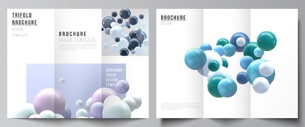Layouts de modelos de design de capas para três dobras brochura, layout do folheto, revista, design de livros, capa de brochura, publicidade. fundo realista com esferas 3d multicoloridas, bolhas, bolas.