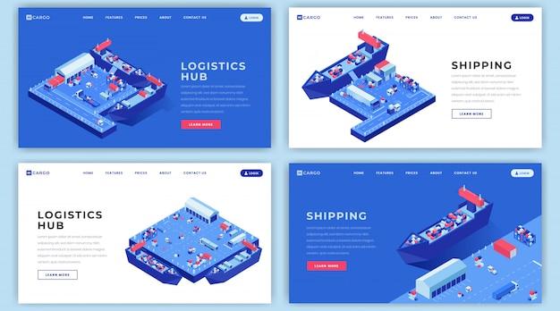 Layouts de página de destino de remessas marítimas definidas. logística de transporte site homepage interface idéia com ilustrações isométricas