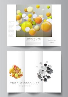Layouts de vetor de modelos de design de capas para brochura com três dobras