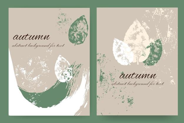 Layouts verticais com desenho outonal no estilo grunge. pinte com salpicos, manchas e folhas de outono. fundo abstrato para o texto.