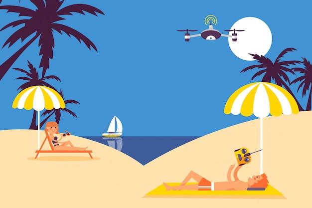 Lazer de férias de verão, as pessoas voam drone na praia, brinquedo de controle remoto