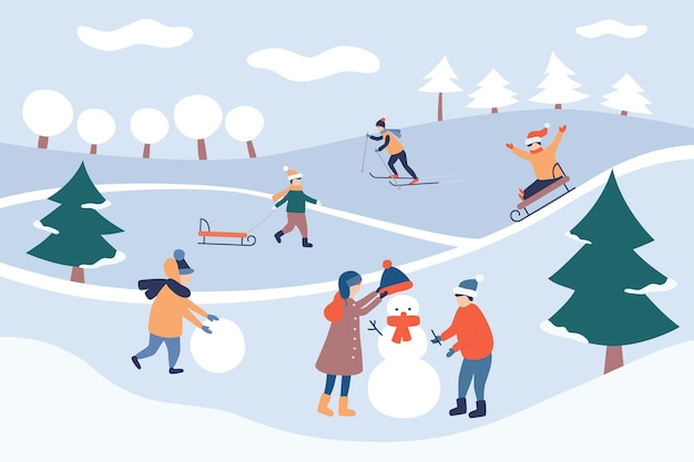 Lazer de inverno infantil. paisagem de inverno. boas festas e feliz natal. crianças fazem um boneco de neve