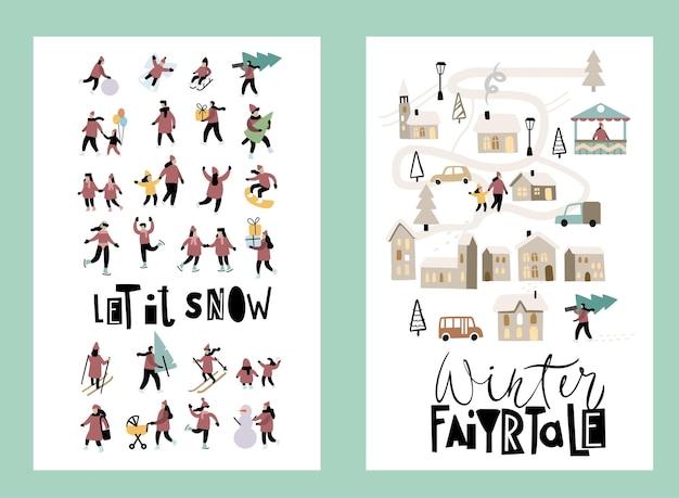Lazer de inverno. vector várias pessoas. conjunto de vetores de mão desenhada. cartões de feliz natal.