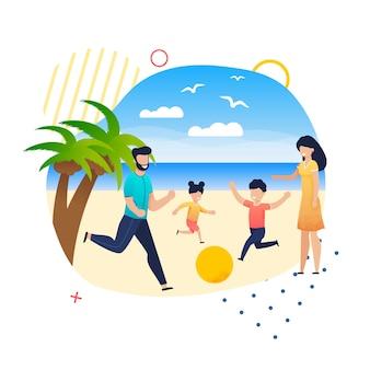 Lazer feliz da família em férias de verão na praia