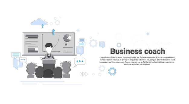 Leadership coaching management negócios web banner ilustração vetorial