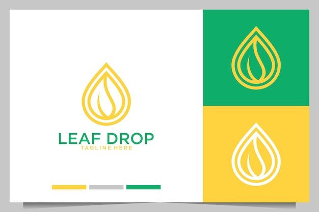 Leaf drop moderno e elegante design de logotipo