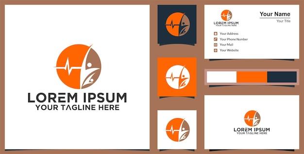 Leaf human logo design for healthy e cartão de visita premium