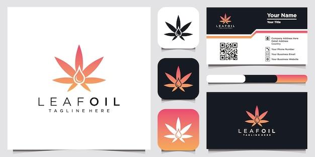 Leaf oil logo design inspiração para empresa e cartão de visita