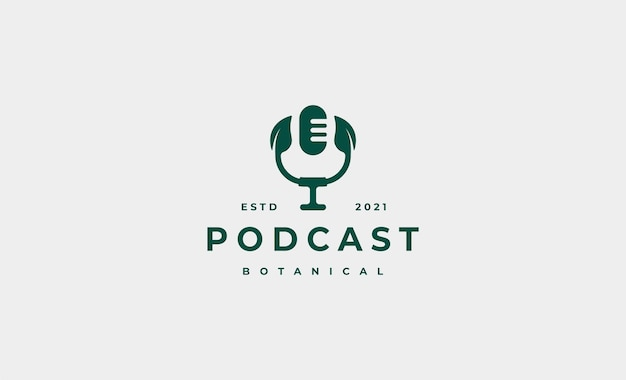 Leaf podcast logo design ilustração
