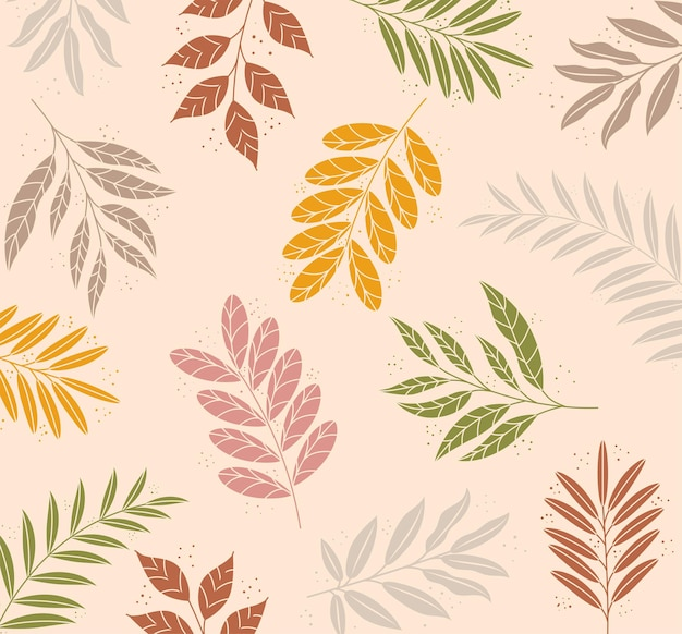 Leafs plants estilo boho background
