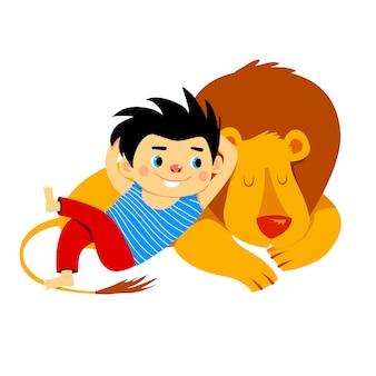 Leão adormecido e ilustração amigável de menino